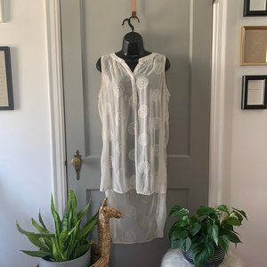 Knox Rose Transparent Embroidered Tunic Cream